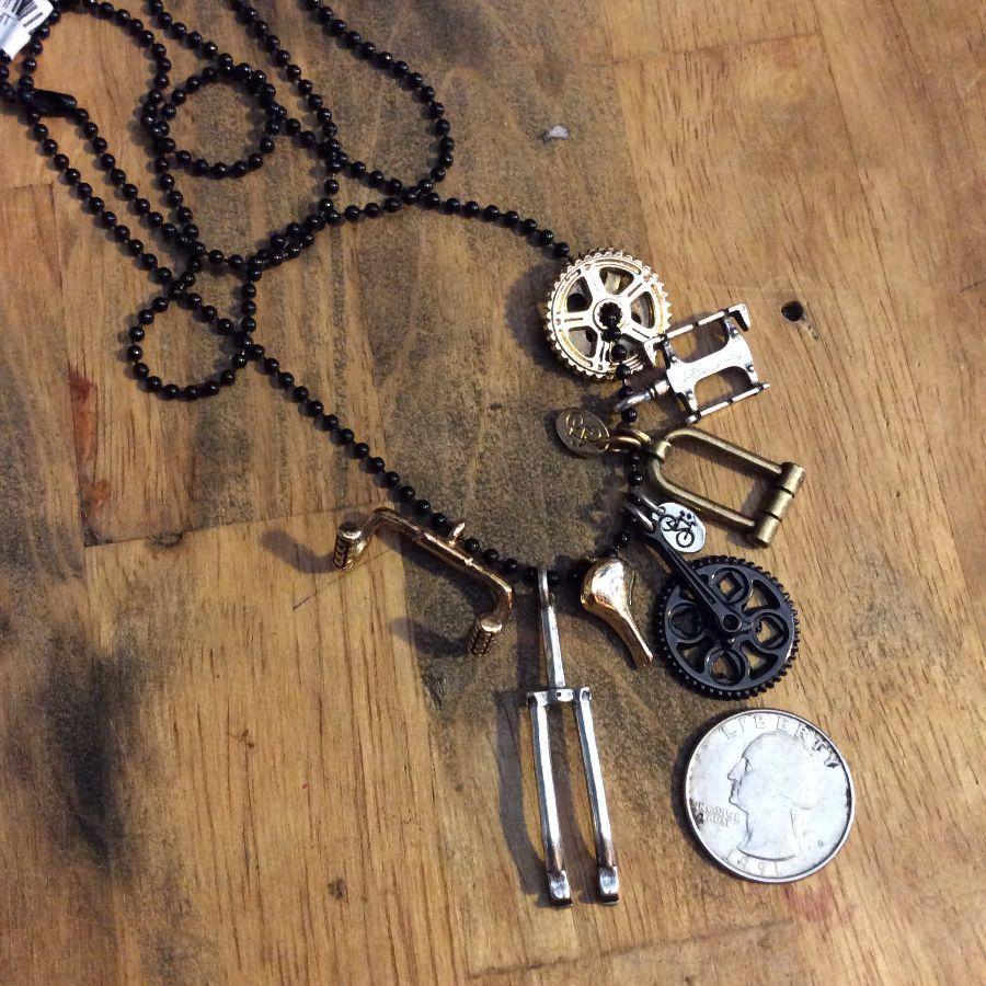 THE AMSTERDAM BIKE PILE MULTI CHARM BIKE PART NECKLACE 3