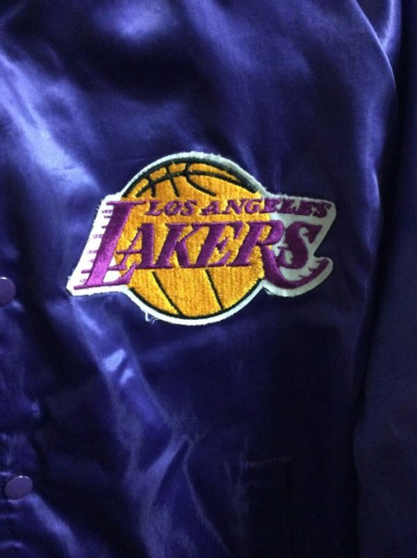NBA Los Angeles Lakers Satin button up jacket w/ Letters on back 3
