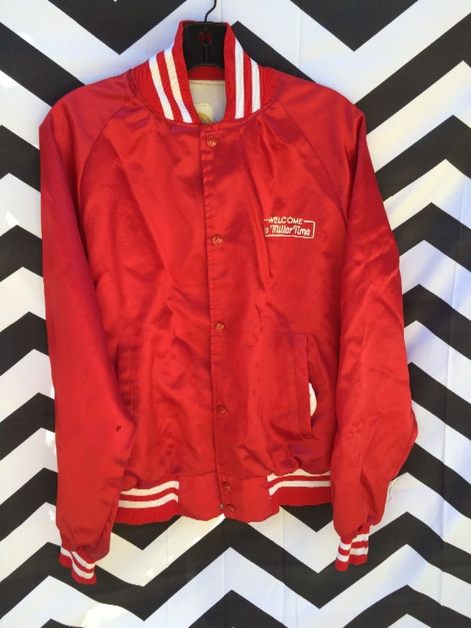 SATIN JACKET RETRO MILLER HIGH LIFE FRONT AND BACK GRAPHIC 1