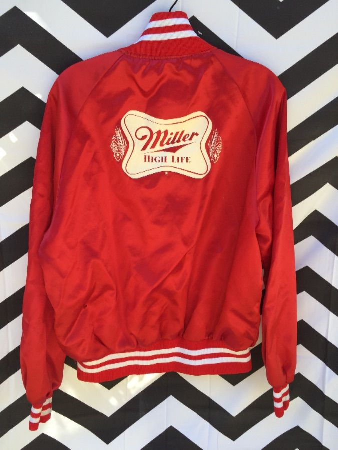 SATIN JACKET RETRO MILLER HIGH LIFE FRONT AND BACK GRAPHIC 2
