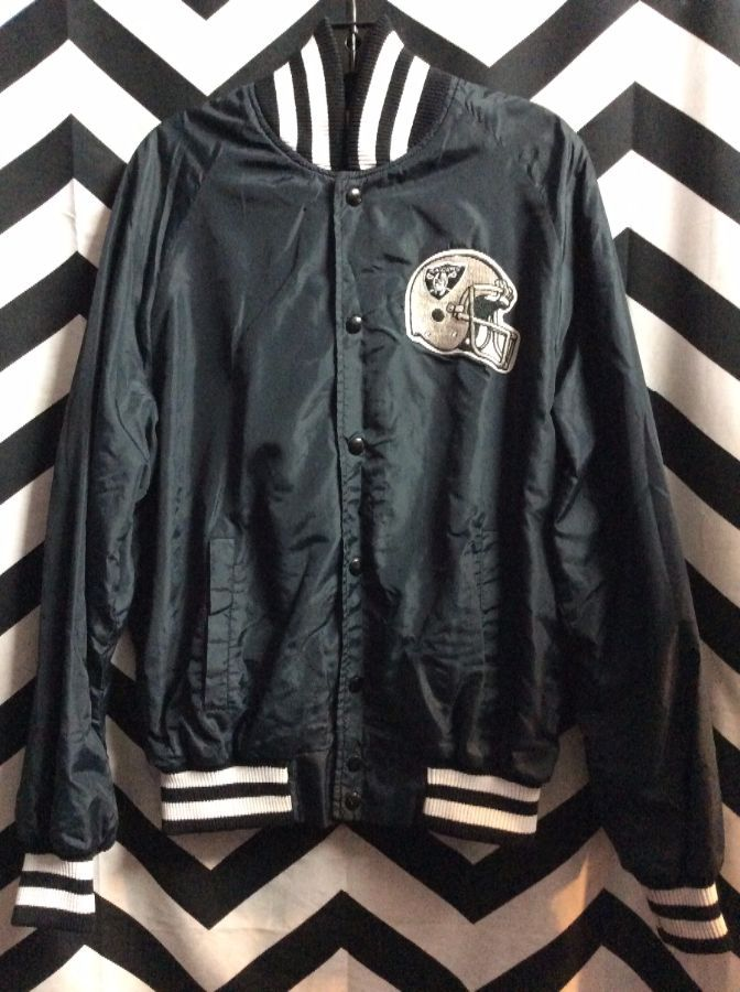LOS ANGELES RAIDERS FRONT PATCH BUTTON UP BOMBER CUT JACKET 1