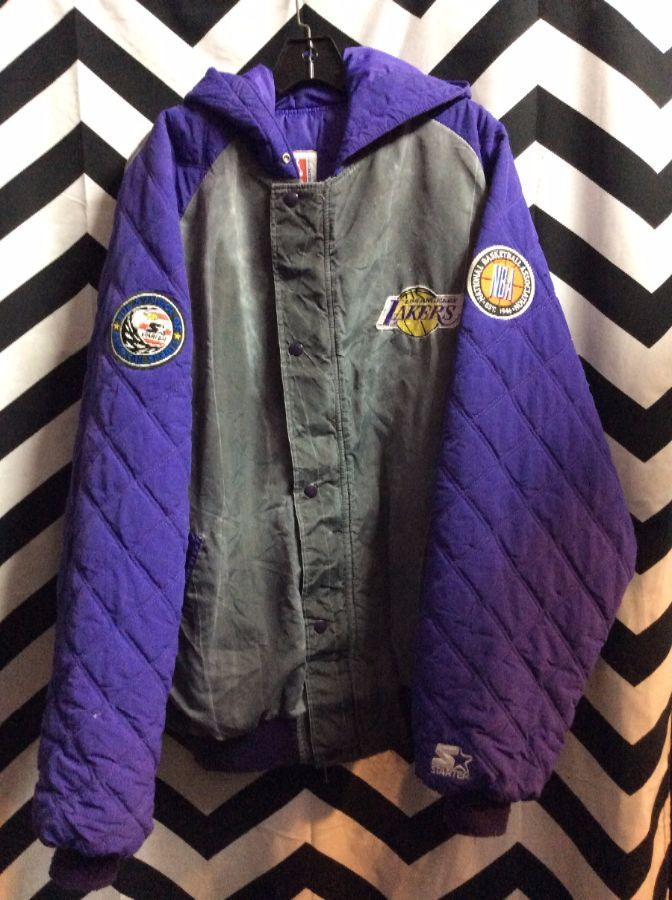 LOS ANGELES LAKERS STARTER CHARCOAL HOODED ARMS PATCHES 1