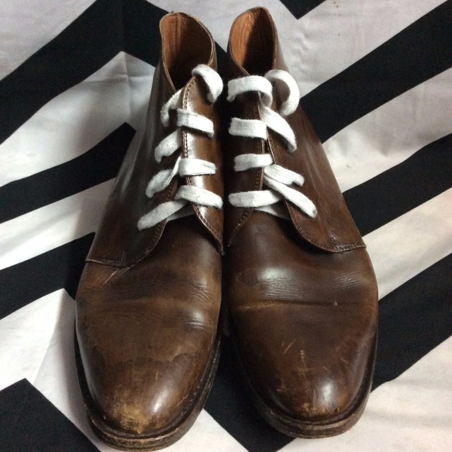 LEATHER BOOTIES SEMI ROUND TIP REGULAR SHOE LACE 1