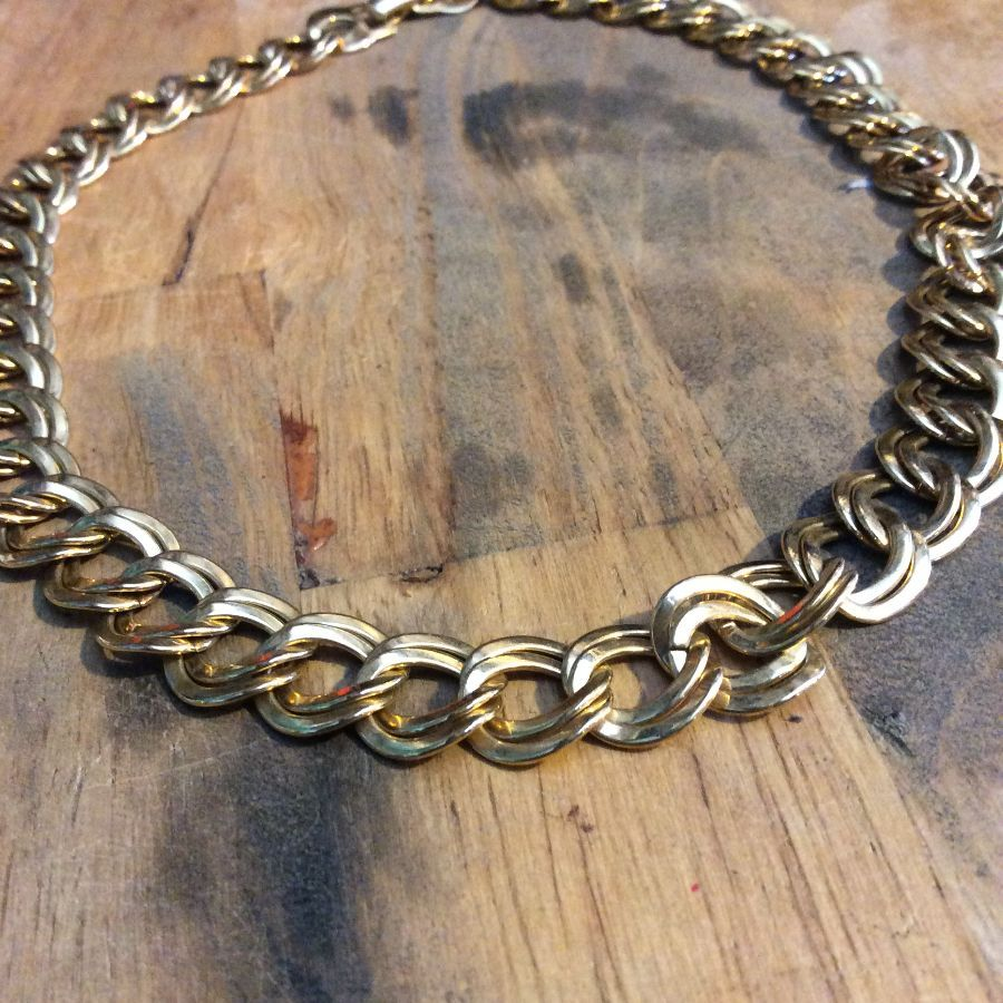 SHINY GOLD DOUBLE CHAIN LINK NECKLACE NICE CLASP 1
