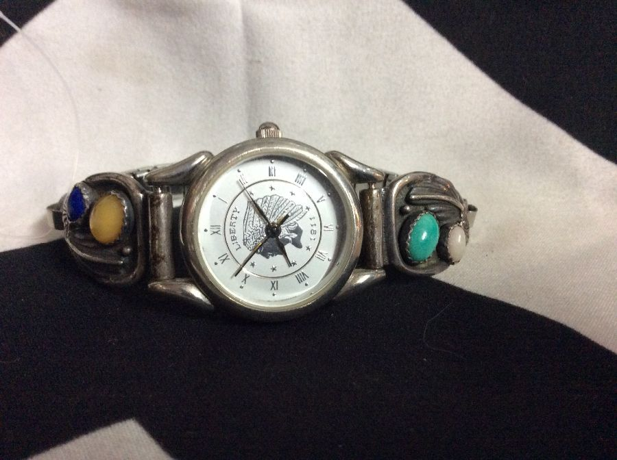 Southwest Traditions Watch Sterling Silver & Stones 1