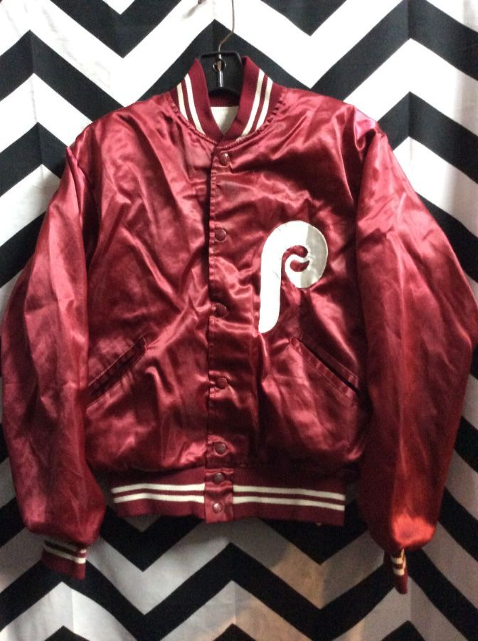PHILLIES SATIN JACKET WITH P LOGO PATCH *AS IS 1