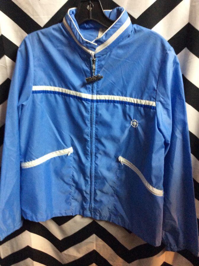 Retro light blue colorblock windbreaker w/ weather tamer zipper 1