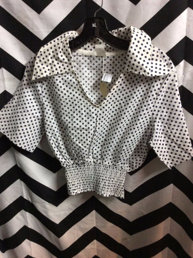 DEADSTOCK CROPPED POLKA DOT COTTON TOP 1