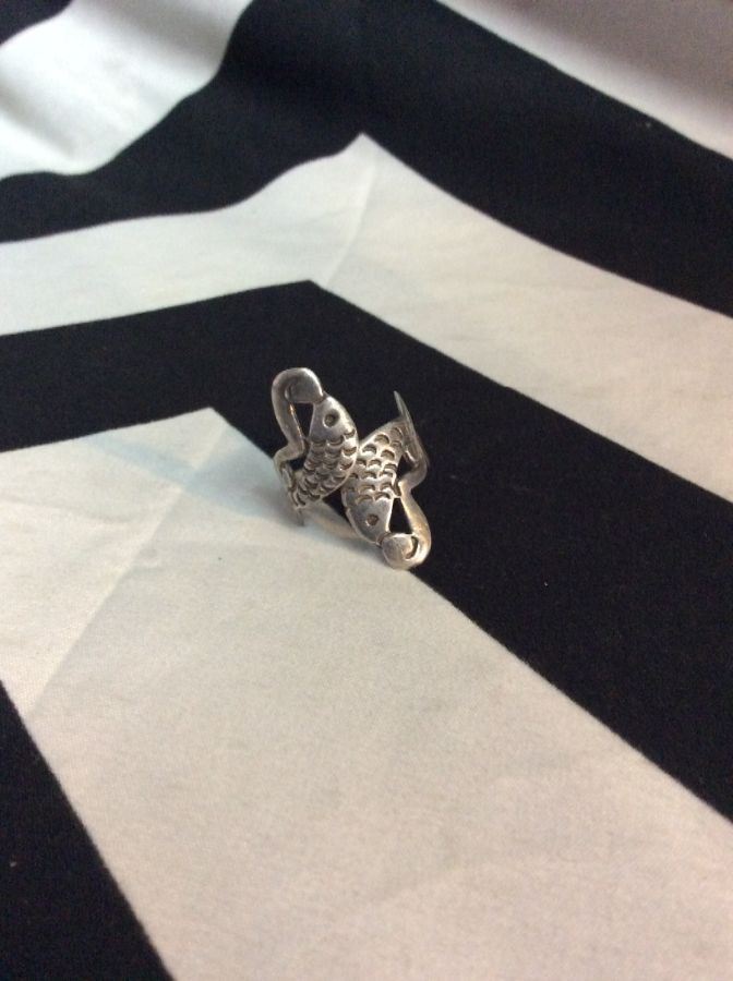 RING TWO VINTAGE FISH STERLING SILVER 1