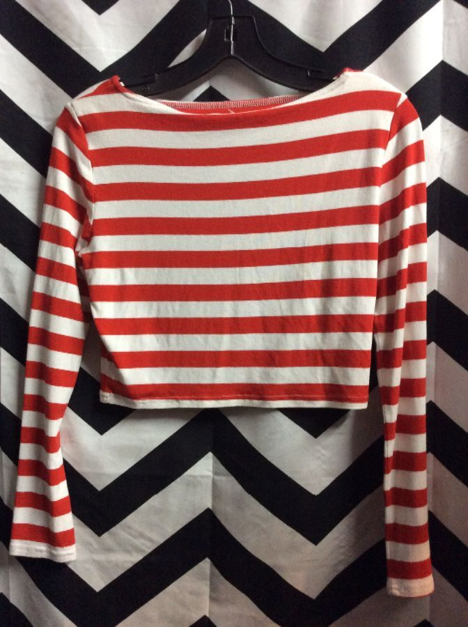 LS CANDY CANE STRIPED CROP TOP 1