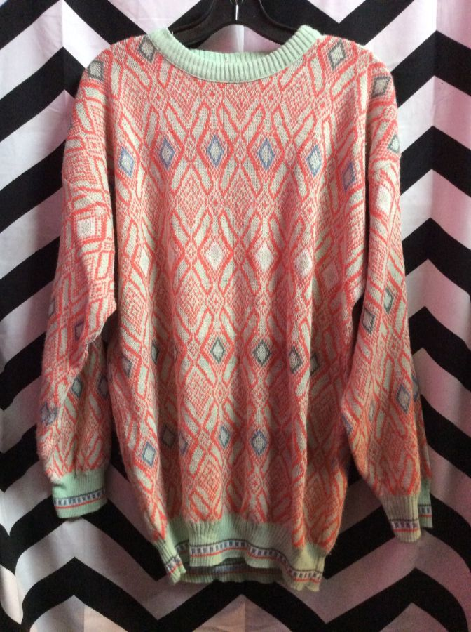 PULLOVER SWEATER FUNKY PATTERN SORBET COLOR WAY 1