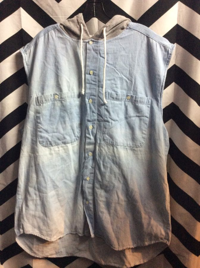 SLEEVLESS OVERSIZED CHAMBRAY BD HOODED TWO FRONT POCKETS 1