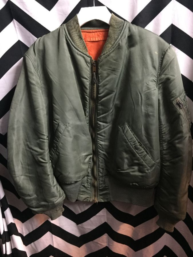 CLASSIC BOMBER JACKET ZIP UP WITH POCKET ON SLEEVE ORANGE LINING AS IS 1