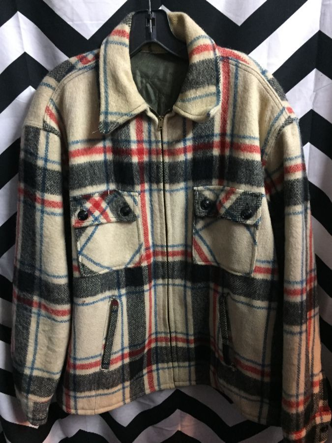 Thick Wool Zipup Flannel Jacket w/ satin lining 1