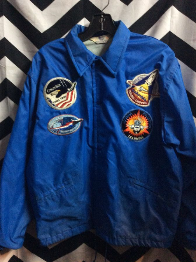 WINDBREAKER PRC SPACE SHUTTLE TEAM W/ MULTIPLE PATCHES 1