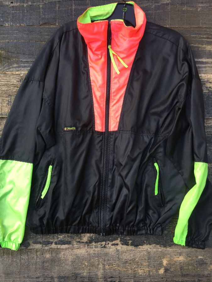 DAYGLOW COLORBLOCK COLUMBIA 1/4 ZIP WINDBREAKER 1