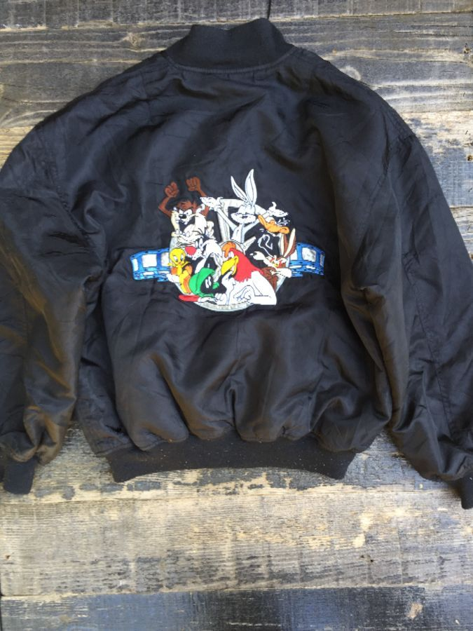 Looney Tunes Zipup Bomber Jacket quilted orange lining 1
