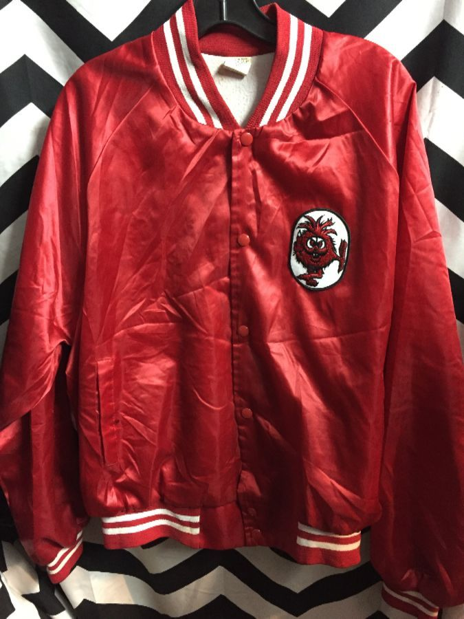 Satin red button up jacket with Red Monster patch 1
