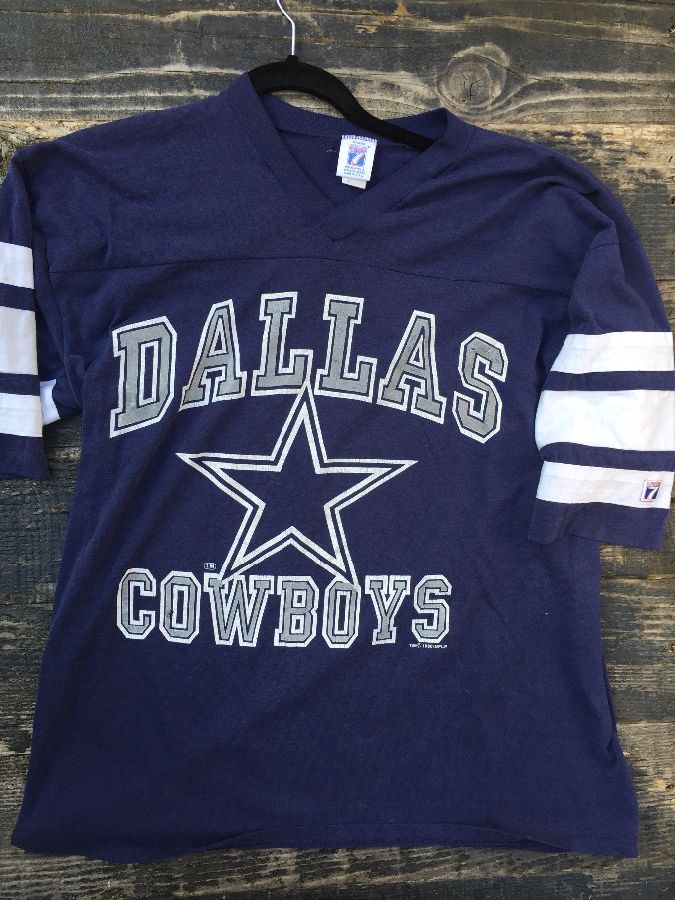 Retro NFL Dallas Cowboys Jersey T-shirt w/ stripped sleeves as-is 1