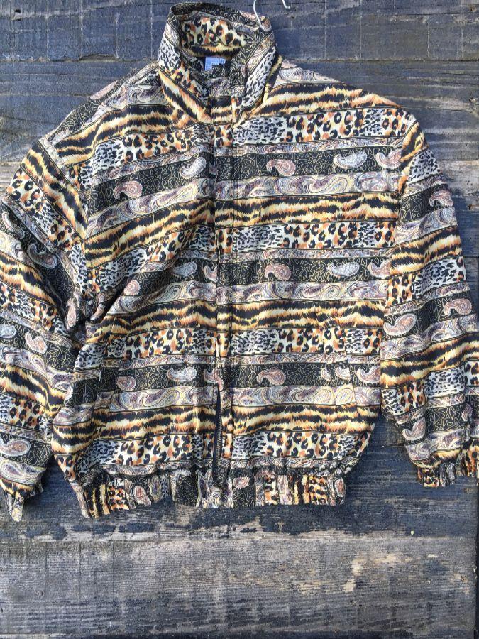 Silk Animal and paisley striped pattern windbreaker 1