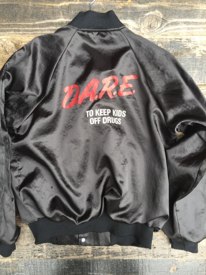 DARE to keep kids off drugs and voilence Satin button up jacket 1