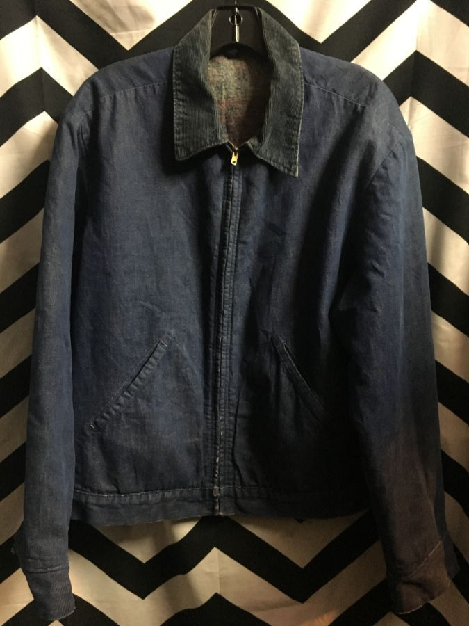 DENIM JACKET ZIP UP CORDUROY COLAR WOOL LINING 1