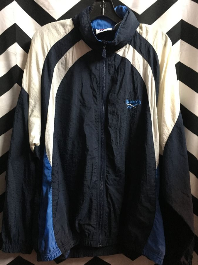 REEBOK WINDBREAKER WITH HIDEAWAY HOOD COLORBLOCK SLEEVES 1