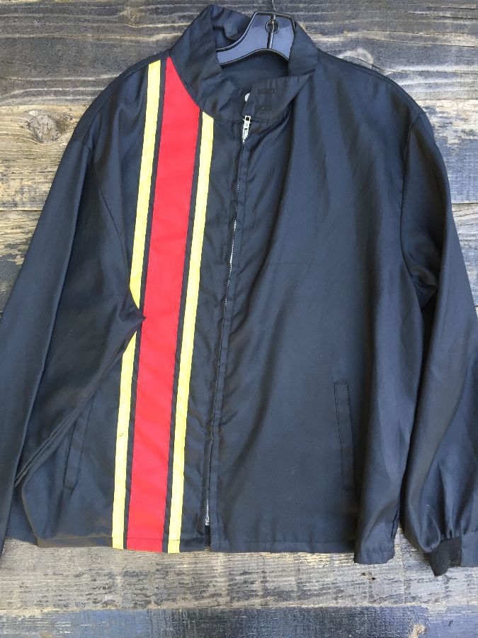RETRO RACING JACKET WITH STRIPES RUNNING DOWN FRONT 1
