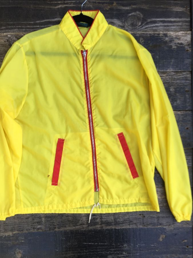 YELLOW RETRO RACING JACKET WITH RED TRIM 1