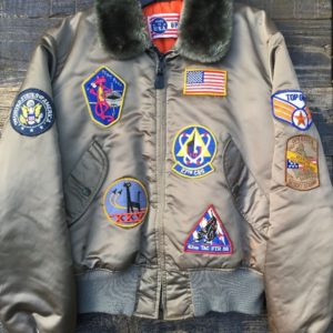 TOP GUN PATCHED UP FLIGHT JACKET W FUR LINED COLLAR 1