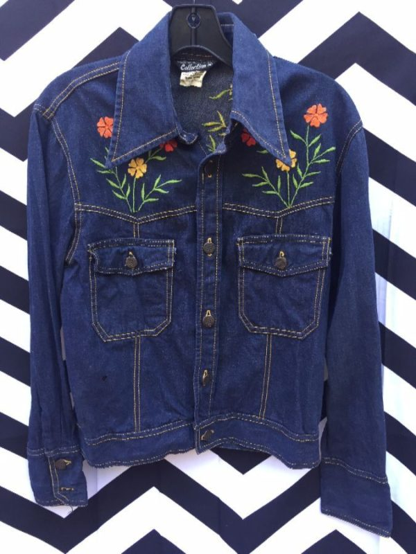 RETRO DARK DENIM JACKET FLOWER EMBROIDERY CONTRAST STITCHING 1