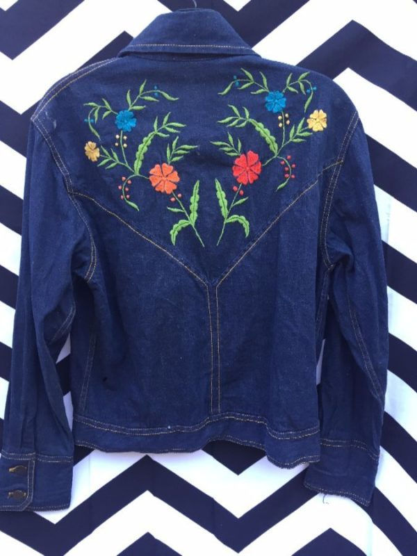RETRO DARK DENIM JACKET FLOWER EMBROIDERY CONTRAST STITCHING 2