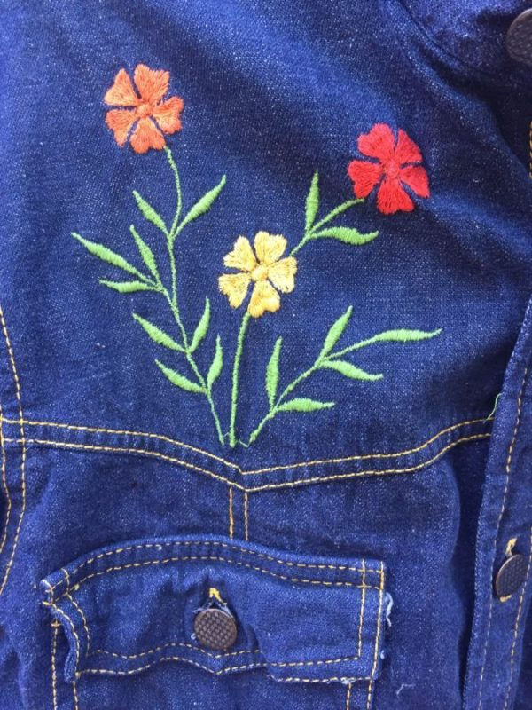 RETRO DARK DENIM JACKET FLOWER EMBROIDERY CONTRAST STITCHING 3