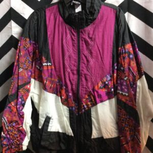 Colorblock and geometric patterned windbreaker 1