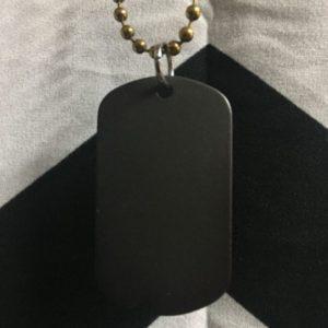 Matte Black DOG TAG Charm Necklace- Medium Ball Chain 1