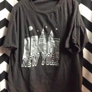 TSHIRT SILVER NEW YORK SKYLINE MOON STARS 1