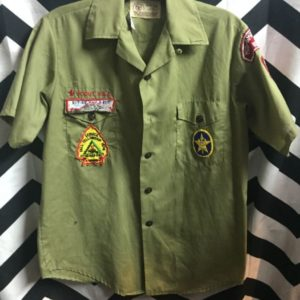 SS BD OFFICAL BOY SCOUT SHIRT WITH PATCHES as-is 1