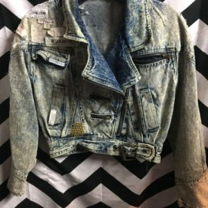 LITTLE CROPPED DENIM MOTORCYCLE JACKET SEWN LABELS 1
