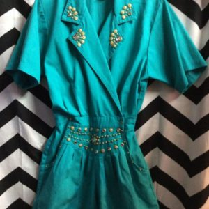 TEAL ROMPER WITH GOLD STUD DIAMOND ACCENT 1