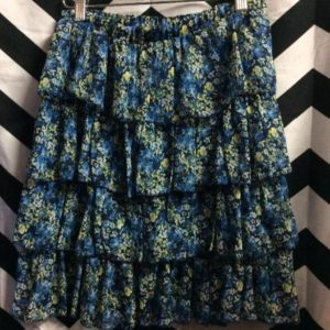 TIERED CHIFFON FLORAL SKIRT made in France 1