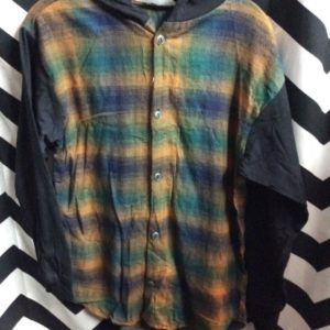 long sleeve button down hooded flannel shirt with cotton sleeves 1