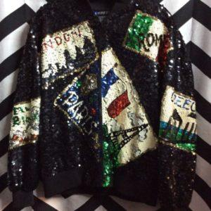 Black sequin bomber jacket w/ postcard design 1