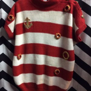 SS KNIT SWEATER NAUTICAL STRIPES GOLD BUTTONS as-is 1