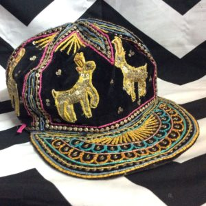 VELVET EMBROIDERED HAT INDIA BURMA as-is 1