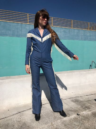 H BAR C DENIM FRINGE LINED JUMPSUIT