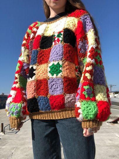 Grandma Afghan Knitted Sweater