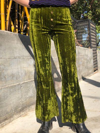 Rare Vintage Low-Rise Crushed Velvet Bell Bottom Pants