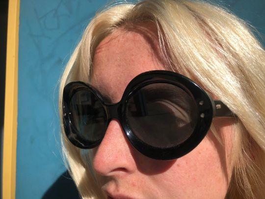 1960's Mod Black Round Frame Sunglasses