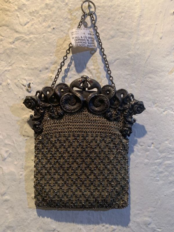 SMALL GERMAN SILVER STEEL BEAD EVENING BAG ORNATE SNAKES CHAIN HANDLE