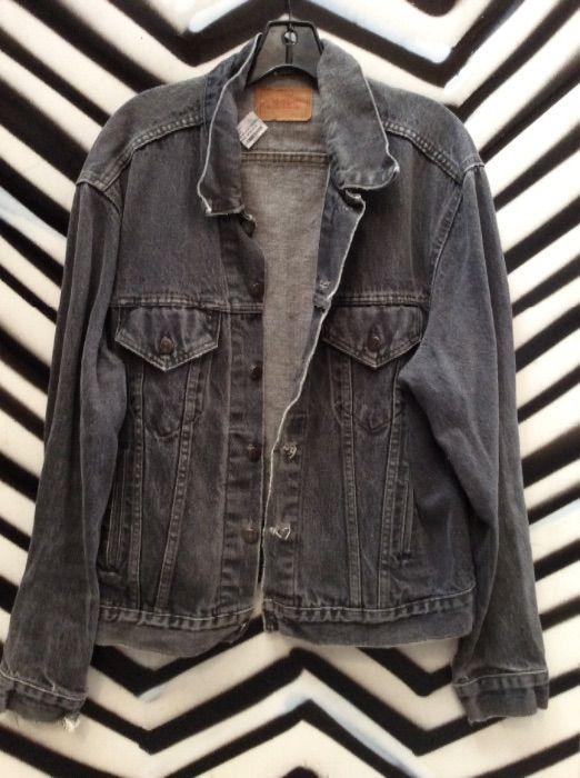 Levis Classic Faded Black Denim Jacket Boardwalk Vintage